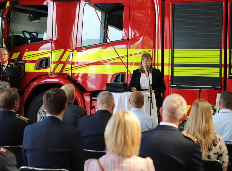 Kultur- og kirkeminister Joy Mogensen under sin tale ved overrækkelsen af Den Danske Redningsberedskabspris i Korsør 11. juni 2021.